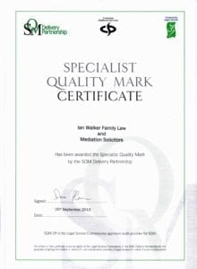 Ian Walker Family Law and Mediation Solicitors Specialist Quality Mark Certificate