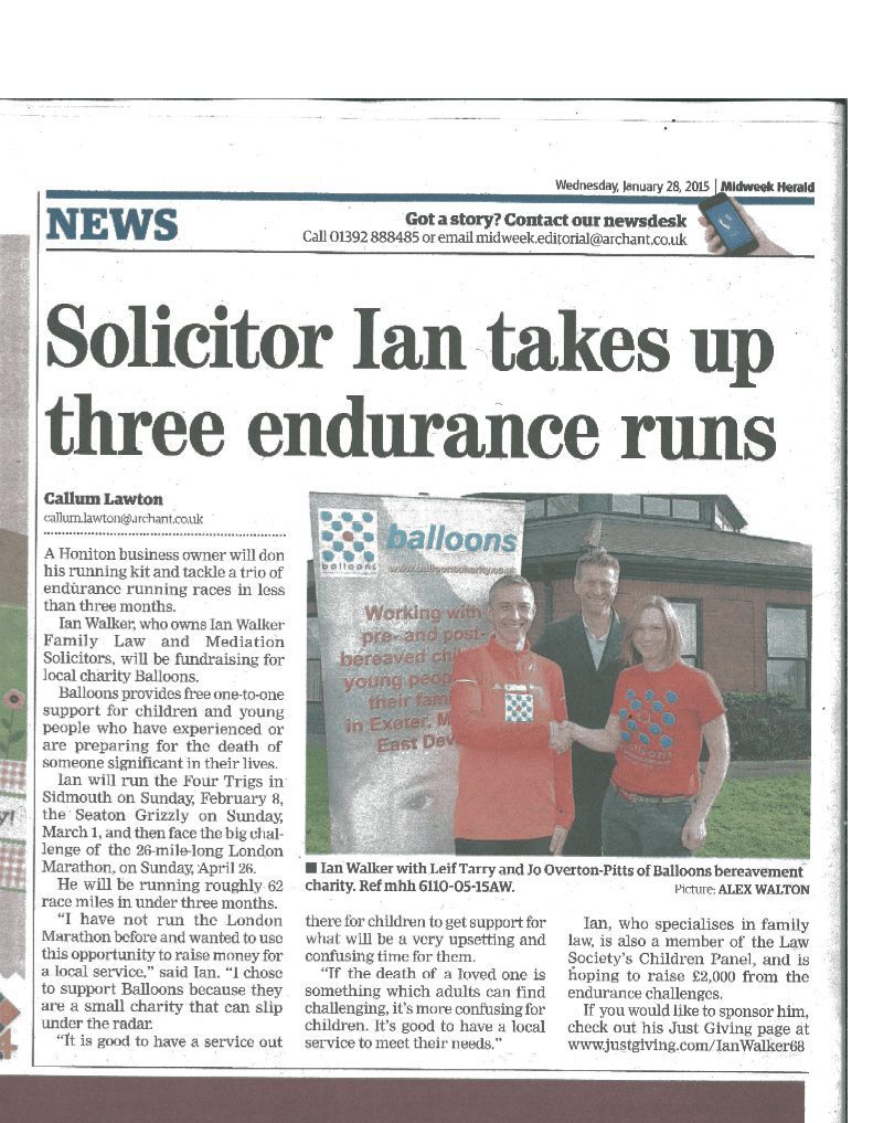 Family law Solicitor in Honiton to run London Marathon