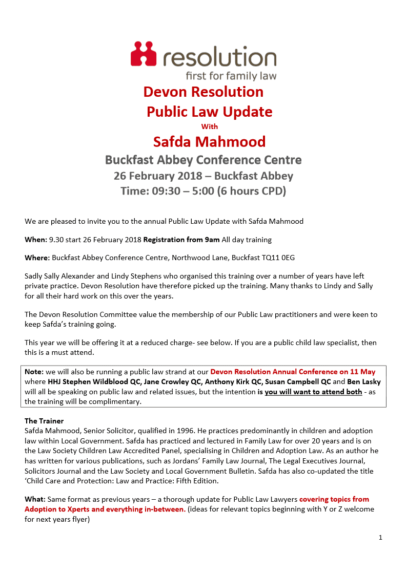 Devon Resolution Public Law Training 2018