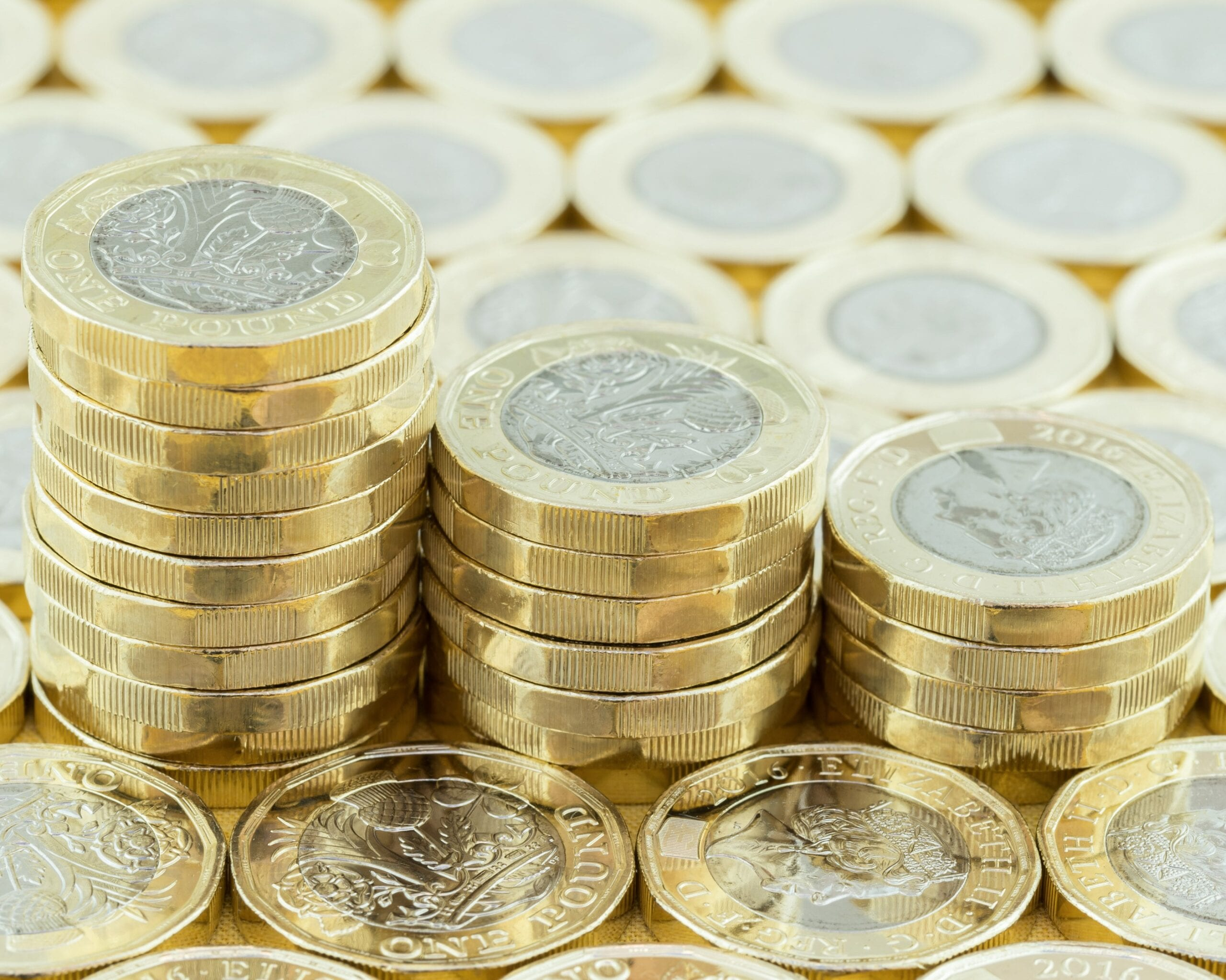 Stacks of pound coins