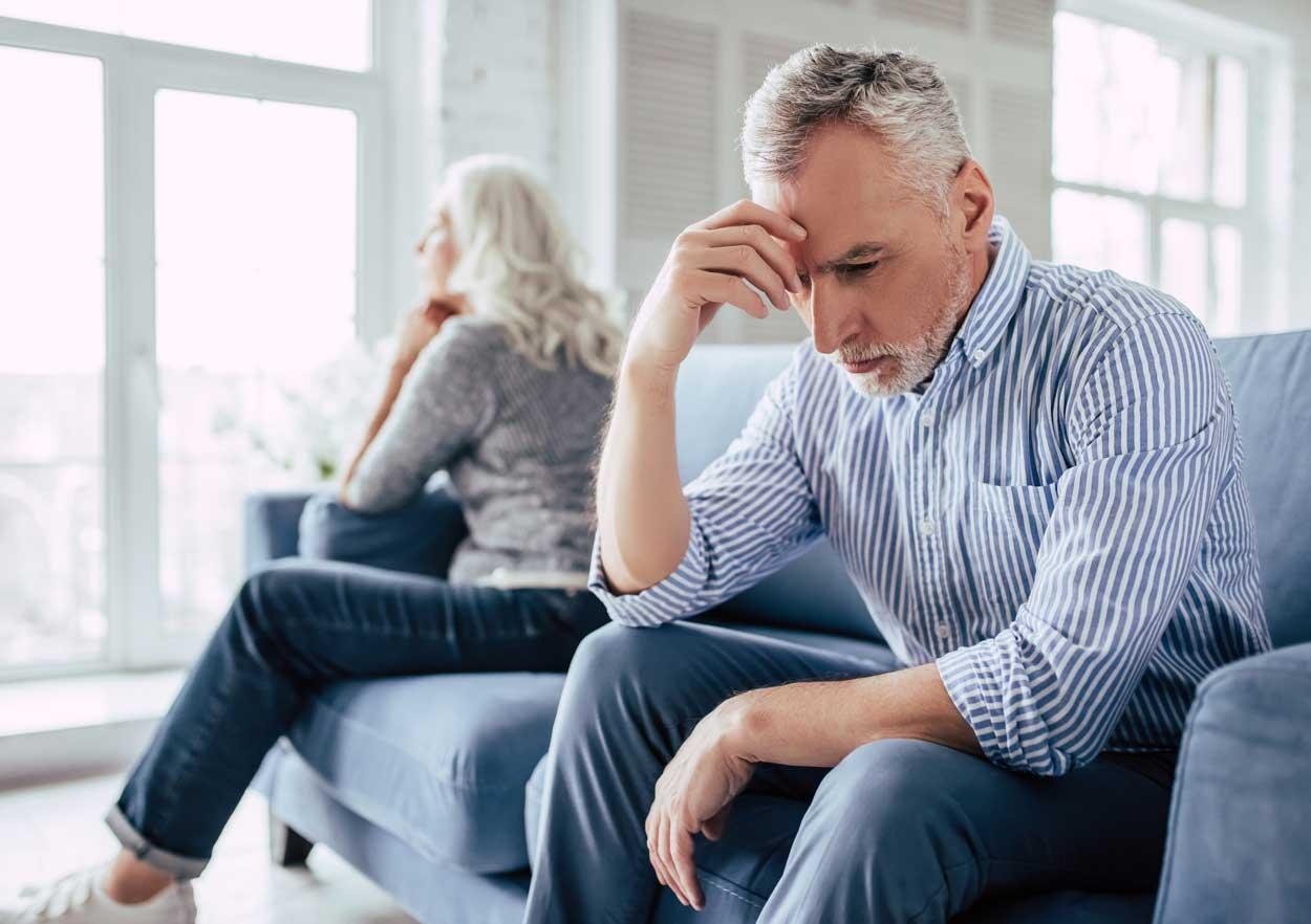 older couple going through divorce, not talking